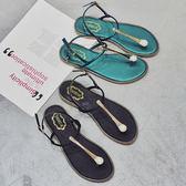 新款波西米亞沙灘平底羅馬夾腳人字涼鞋女韓版百搭學生潮  卡布奇諾