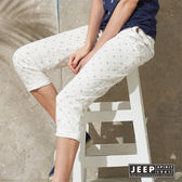 【JEEP】女裝 夏日海洋滿版海星造型休閒長褲 (白色)