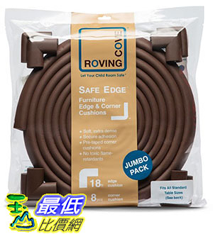 [105美國直購] Roving Cove® 20.4 ft [18ft Edge + 8 Corners] Safe Edge® and Corner Cushion - Jumbo Pack - COFFEE;