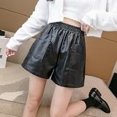 短褲休閒褲闊腿褲S-XL皮短褲高腰pu皮褲鬆緊腰寬鬆百搭外穿顯瘦靴褲T507A-8733.