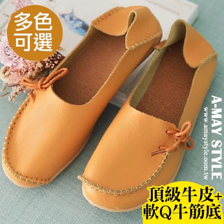 懶人鞋-日系縫邊綁結真皮休閒鞋