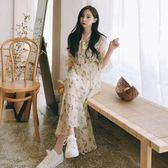 2018夏季新品黑色仙女裙V領大碼遮肚子雪紡碎花中長款挺版洋裝長裙 S-XL(全館八五折)