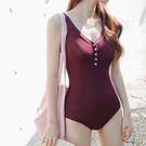 泳裝 比基尼 泳衣 素色聚攏鈕釦顯瘦連身...