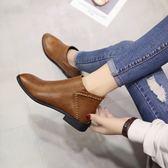 春秋馬丁靴女英倫風百搭短靴平底韓版粗跟單靴女靴新款及裸靴-十週年店慶 優惠兩天