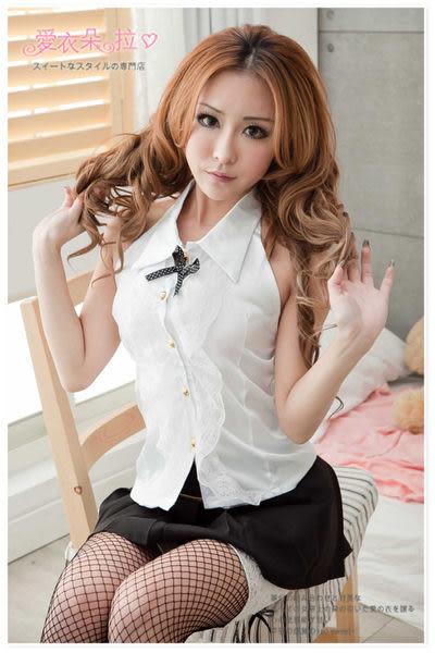 OL空姐學生 削肩白上衣黑短裙 角色扮演制服- 愛衣朵拉