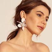 歐美時尚超仙大牌誇張無耳洞耳夾女長款花朵花瓣假耳環度假配飾品