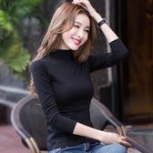 黑色高領打底衫女長袖t恤秋衣百搭白色上衣修身顯瘦薄款緊身體恤 米蘭街頭