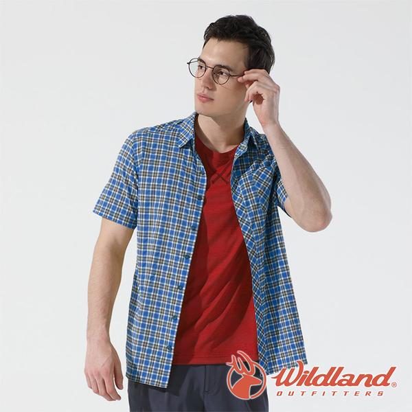 【wildland 荒野】男 彈性抗UV格子短袖襯衫『深藍』0A81206 戶外 休閒 運動 防曬 露營 登山 騎車