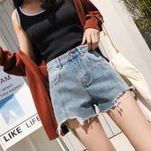 【首爾】新款高腰A字不規則寬鬆闊腿ins牛仔短褲女復古港味熱褲