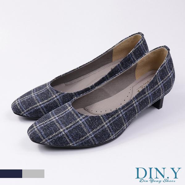 英倫風格紋布面中跟鞋(藍) 小方頭.真皮裡.豚皮.4cm高跟.中低跟鞋.女鞋【S139-06】DIN.Y