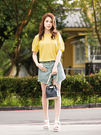 春夏下殺↘3折[H2O]前片可兩穿開襟牛仔短褲裙 - 綠/藍/白/粉色 #9688001