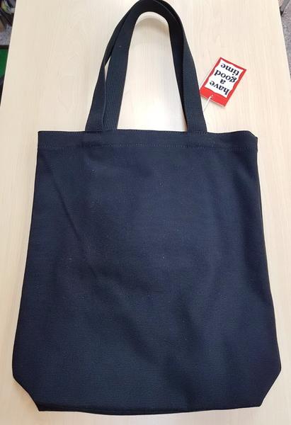 KR正韓- have a good time 文青帆布包 帆布提袋 帆布包 購物袋(長版)-黑白色 H1531