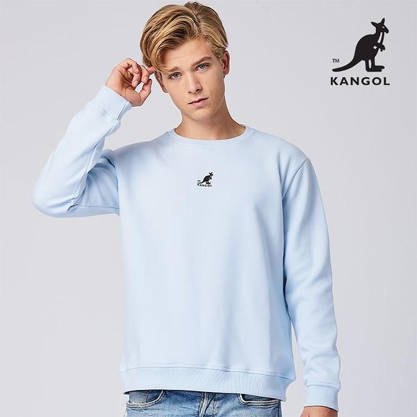 KANGOL 袋鼠 - 中間刺繡袋鼠小LOGO大學T 寶寶藍【60551046】