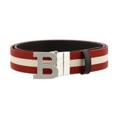 【台中米蘭站】全新品 BALLY  B BUCKLE 35  B字母釦紅白條紋織帶牛皮腰帶 (雙面用/咖)