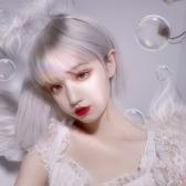 整頂假髮(短髮)-Lolita銀色直髮修臉女假髮73xx10【時尚巴黎】