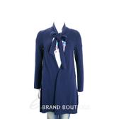 MARELLA 深藍色混紡羊毛領結長版外套 1710596-34