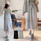 LULUS【A05200014】E韓製-鬆緊後開叉長裙-2色