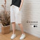 鬆緊五分褲--運動風透氣抽繩鬆緊羅紋褲頭棉質五分褲(白.黑.灰XL-3L)-R192眼圈熊中大尺碼◎