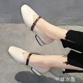 冬季新款方頭粗跟中跟復古奶奶鞋一字扣單鞋韓版女鞋高跟鞋女      芊惠衣屋