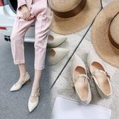 大尺碼女鞋 2019新款百搭歐美鉚釘扣帶尖頭瑪莉珍鞋高跟涼鞋~3色