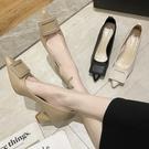 尖頭鞋.韓版優雅純色方扣梯形高跟包鞋.白鳥麗子