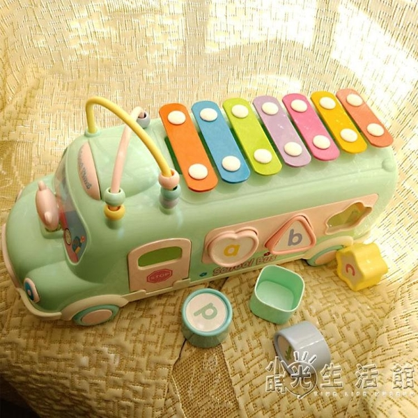 兒童二合一手敲琴八音巴士寶寶玩具0-1歲打擊樂器敲8個月嬰兒木琴 小時光生活館
