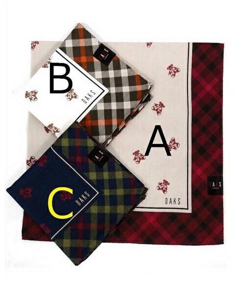 【京之物語】日本製DAKS經典小熊女性絲巾(手帕)-藍色/米色/白色