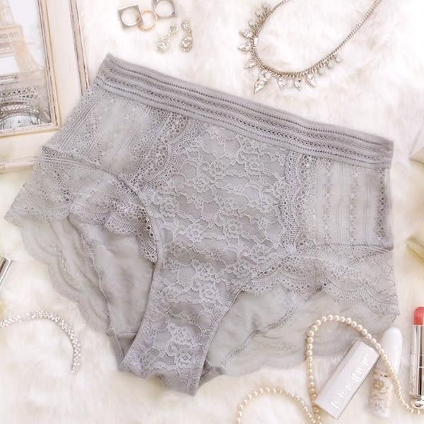 內褲 Ladoore 睡美人 完美中高腰無痕蕾絲小褲(紫灰)