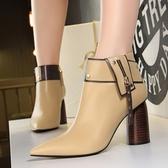 2019年新款歐美時尚顯瘦金屬尖頭搖滾騎士靴 閃亮裝飾鉚釘木紋高跟短靴2色