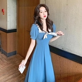 法式小眾設計感海軍領氣質泡泡袖水手服洋裝夏季高腰長款裙子女 【母親節特惠】