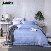 特大雙人床包冬夏兩用被套四件組【 DR1010 淺藍 】 300織天絲™萊賽爾 台灣製 OLIVIA
