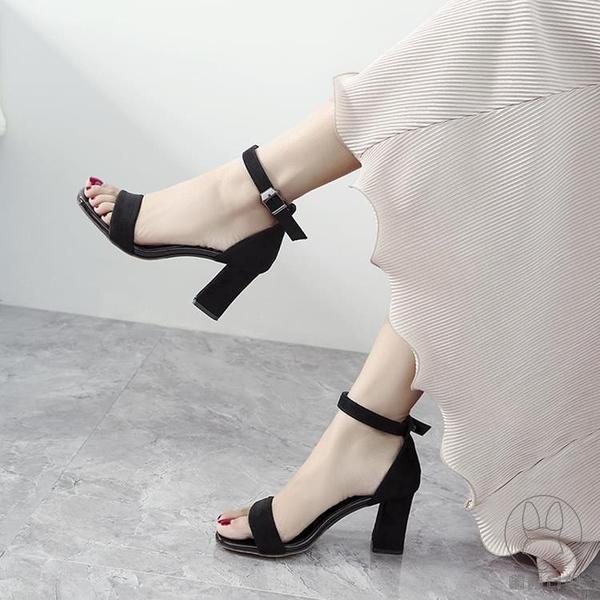 一字扣帶涼鞋女粗跟夏季百搭中跟時裝仙女風高跟女鞋子【貼身日記】