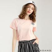 GIORDANO 女裝圓領可愛刺繡寬短版T恤-22 薄紗粉紅色
