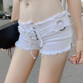 超短牛仔短褲女2019夏季新款時尚潮個性綁帶低腰破洞流蘇緊身熱褲【快速出貨】