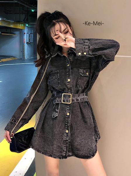 克妹Ke-Mei【AT59435】採購自留V開襟性感立領腰帶洋裝式牛仔外套