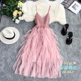 網紗裙 洋裝針織V領露背拼接不規則層層網紗蛋糕裙網紅髮帶裙 6色