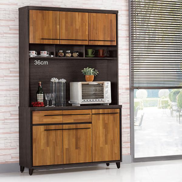 【森可家居】川普4尺餐櫃 (上+下) 8ZX901-2 廚房櫃 碗盤碟櫃 木紋質感 工業風