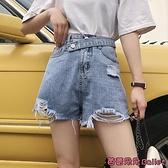 牛仔短褲 破洞寬管牛仔褲女夏季新款學生高腰寬鬆顯瘦a字短褲直筒薄款褲子-Ballet朵朵