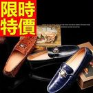 牛皮豆豆鞋-復古流行真皮男休閒鞋3色59...