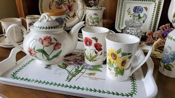 (二杯一壺贈托盤) 英國Portmeirion-Botanic Garden 經典植物園系列-280ml馬克杯雙人下午茶組
