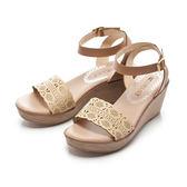 ★春季新品★【Fair Lady】唯美藝術縷空楔型厚底涼鞋-黃