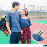 《KL0472-》情侶系列~高含棉純色露單肩仿牛仔寬鬆上衣(女) OB嚴選