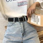 皮帶 凹造型pu方扣腰帶男女通用寬皮帶學生韓國時尚褲帶百搭黑【免運直出】