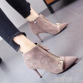 尖頭靴 秋冬新款歐美尖頭鞋細跟高跟鞋鉚釘百搭短靴金屬皮帶扣馬丁靴 唯伊時尚