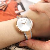CK / K4E2N61X / 極簡風格 細緻迷人 不鏽鋼手環式指針腕錶 銀白x鍍玫瑰金 30mm
