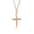 【5折超值價】鈦鋼項鍊十字架鑲鑽造型時尚精美鈦鋼項鍊
