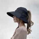 空頂漁夫帽女韓版拉菲草拼接網紅百搭防曬遮陽帽設計感太陽帽子潮  一米陽光
