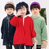 燈芯絨罩衣兒童幼兒園厚畫畫護衣圍裙羽絨服寶寶吃飯 【快速出貨】