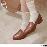 《SD0305》台灣製造.質感色調簡約造型樂福跟鞋 OrangeBear