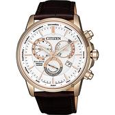 CITIZEN 星辰 光動能萬年曆手錶-白x玫瑰金框/42mm BL8153-11A